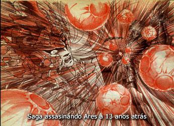 Ares é morto violetamente pela Explosão Galáctica de Saga de Gêmeos, já dominado pelo mal