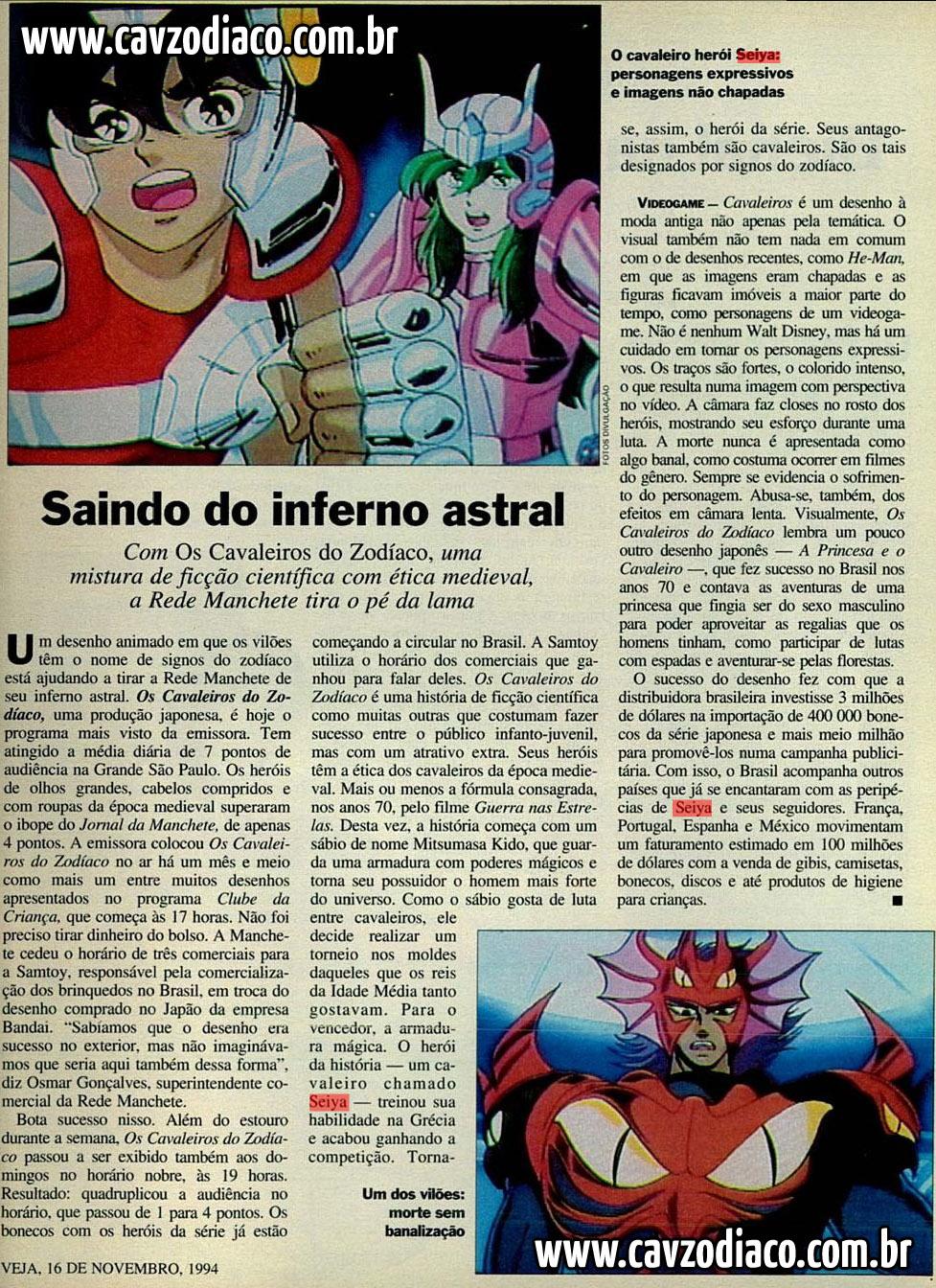 Matéria da veja sobre o sucesso de cavaleiros do zodíaco na rede manchete Foto2