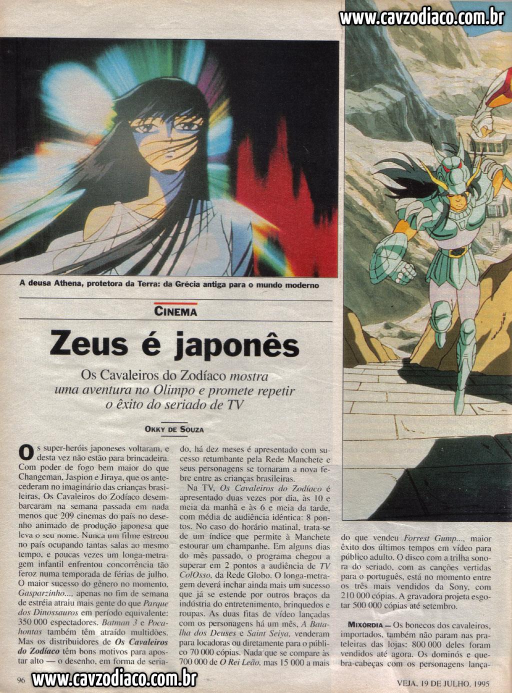Matéria da veja sobre o sucesso de cavaleiros do zodíaco na rede manchete Foto2b