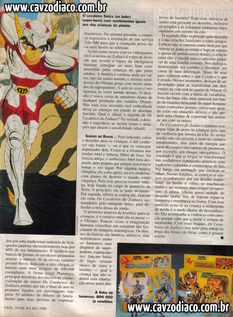 Matéria da veja sobre o sucesso de cavaleiros do zodíaco na rede manchete Foto3b